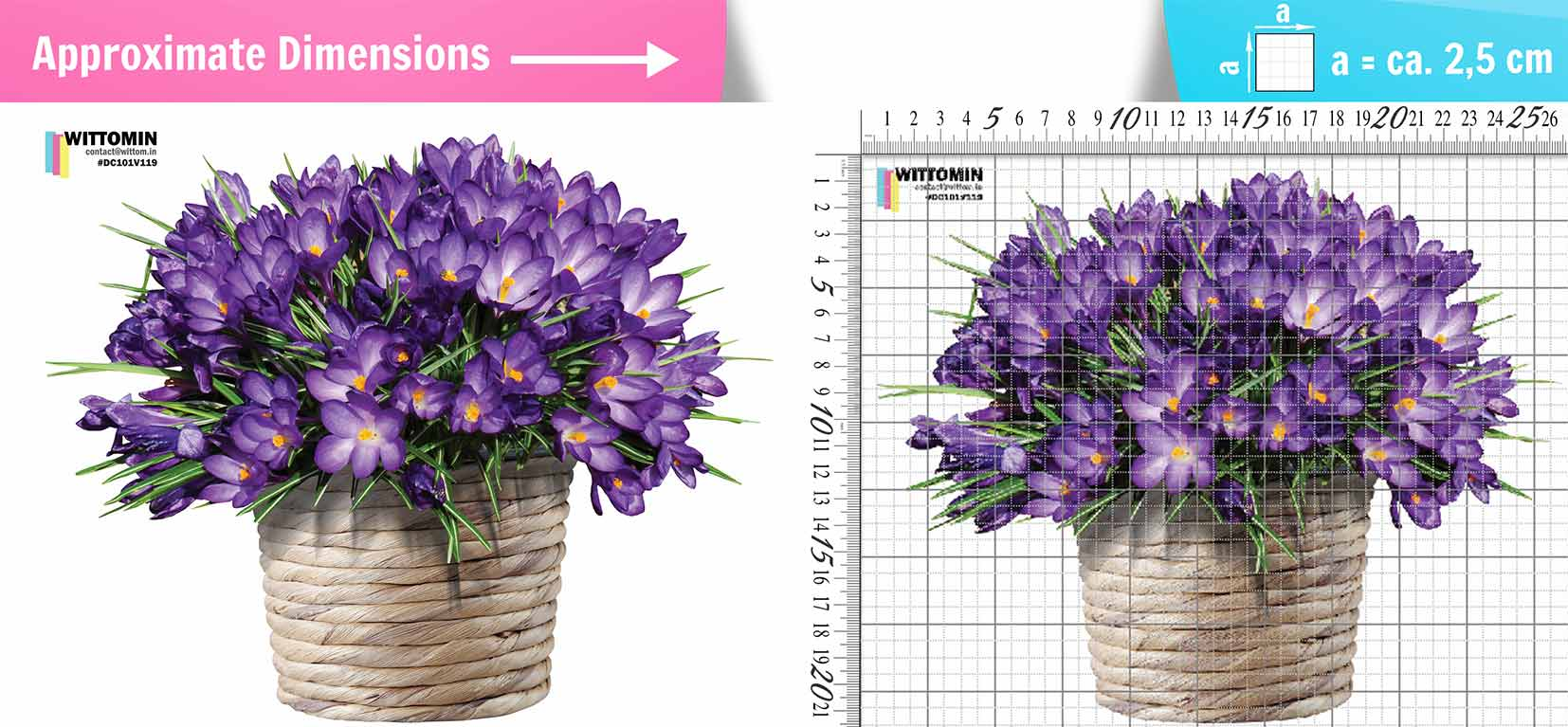 Violet flower pot sticker set from Wittomin