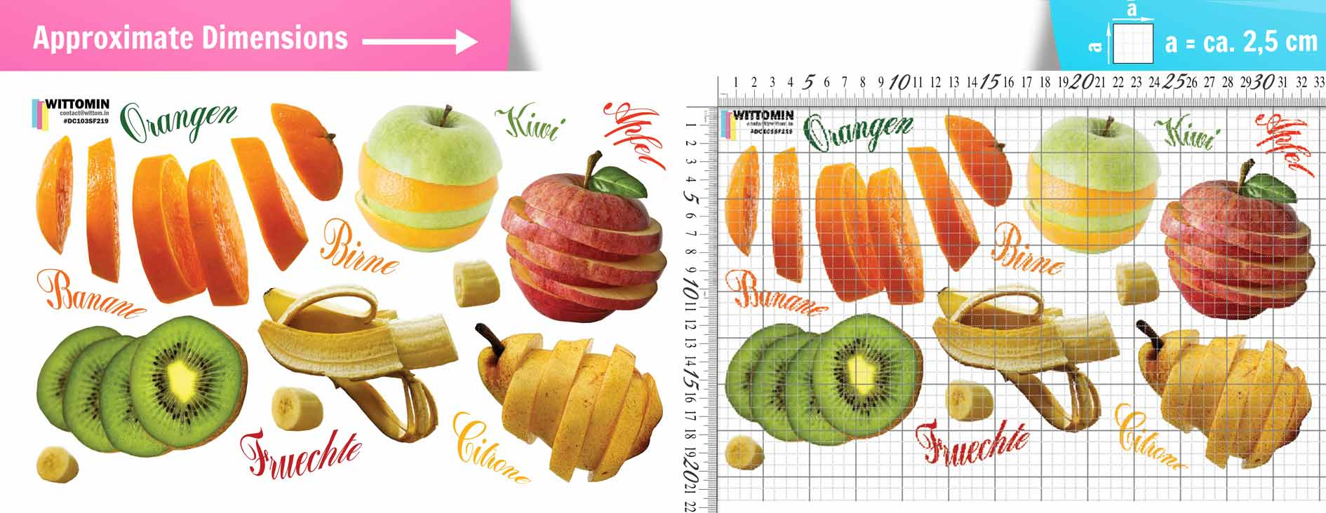 Sliced fruits sticker set from Wittomin