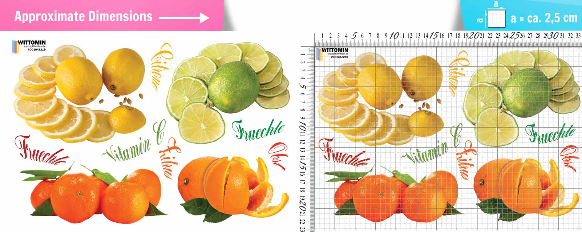 Fruits - citrus sticker set from Wittomin