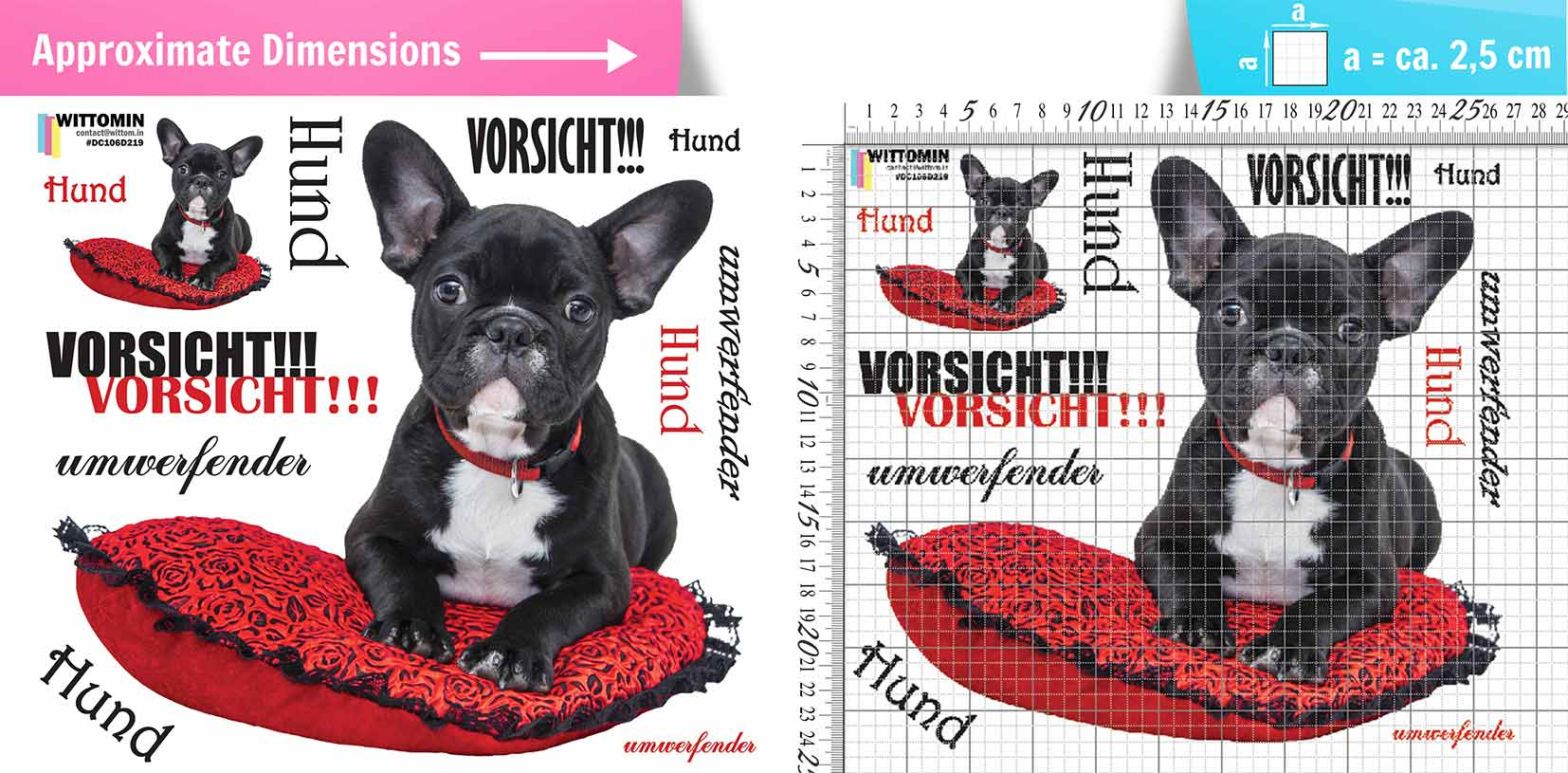 Caution - Stunning dog sticker set from Wittomin
