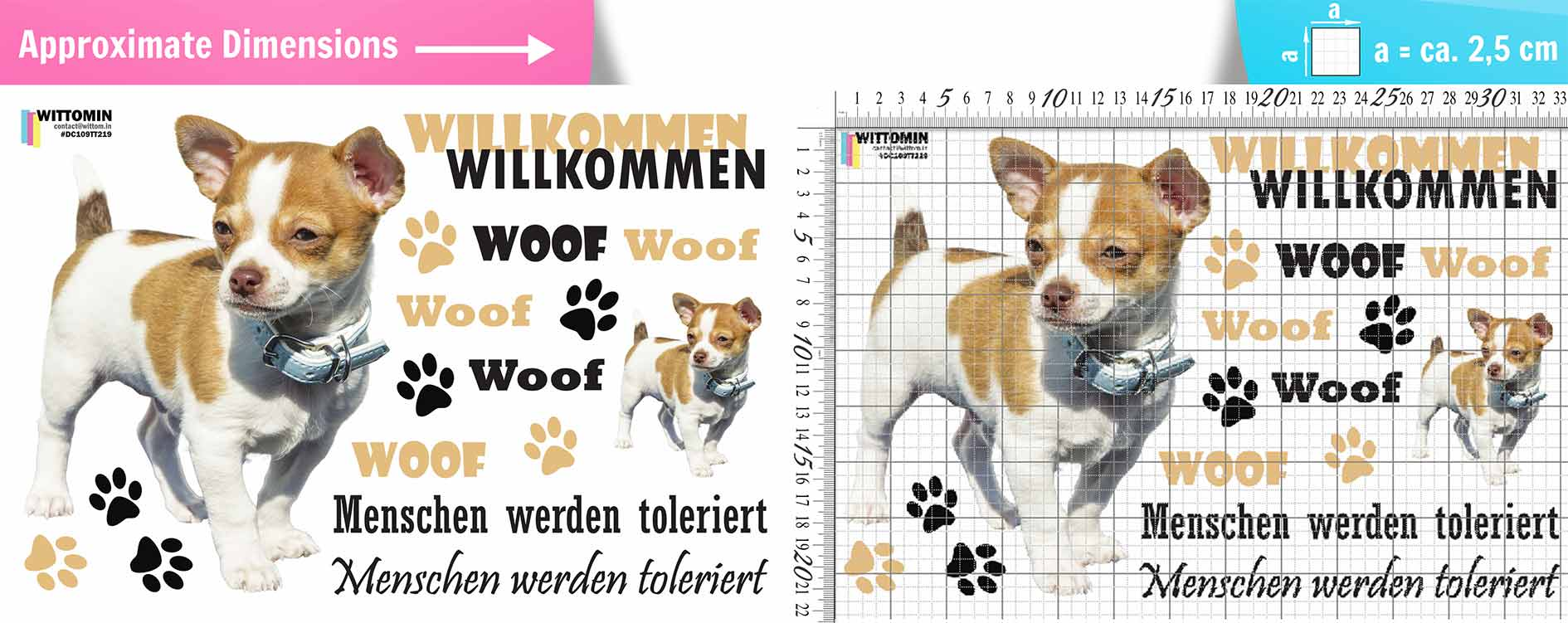 Welcome - toy terrier dog sticker set from Wittomin