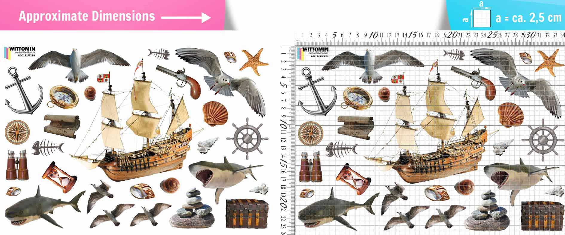 Ship and sea sticker set from Wittomin