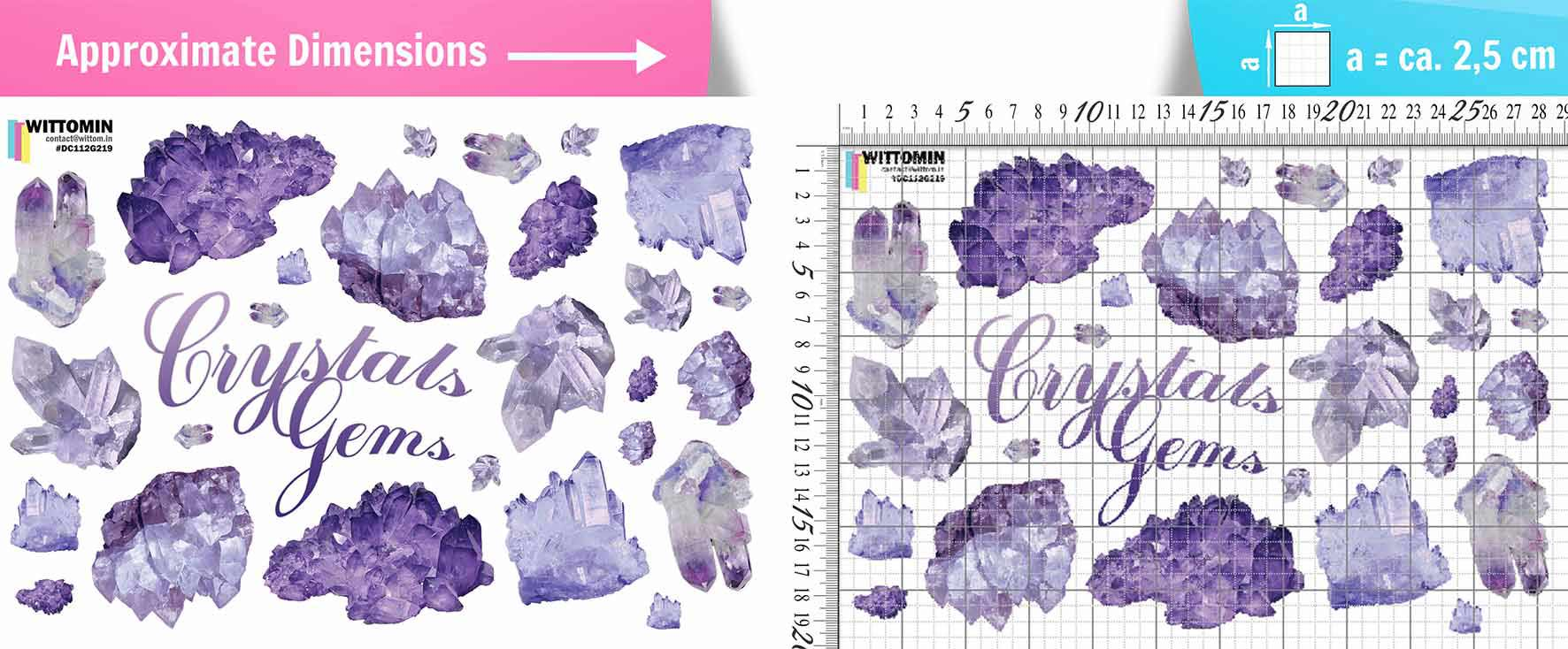 Crystals - Amethyst sticker set from Wittomin