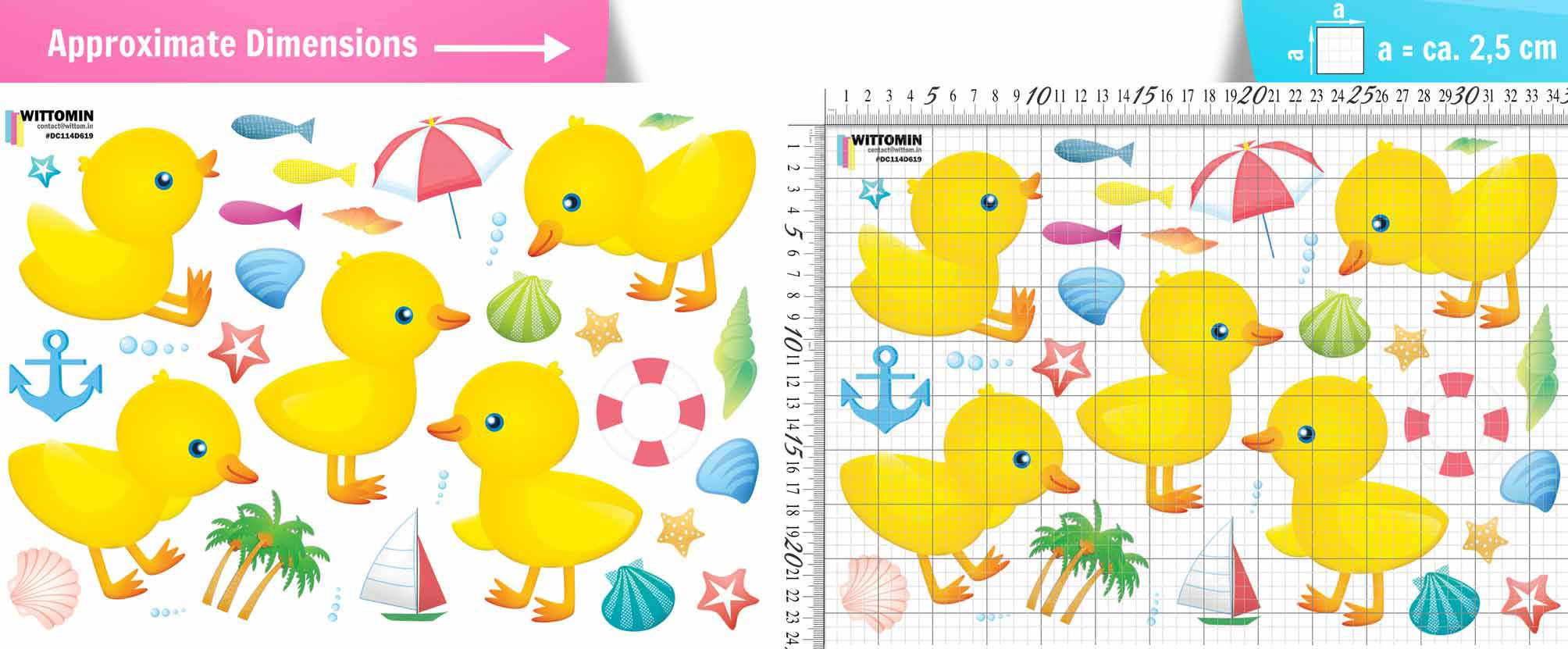 Ducks for children - bathing fun sticker set from Wittomin