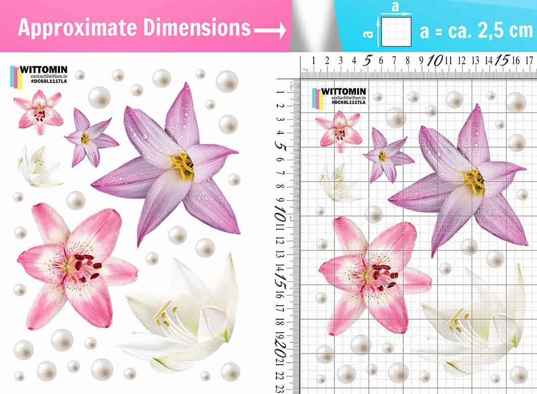 Flowers Lilys and pearls /lilac sticker set from Wittomin
