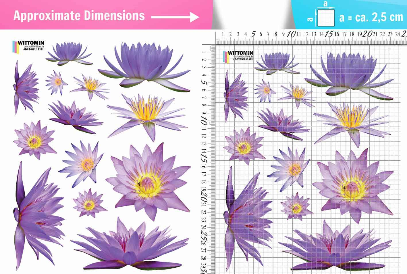 Flowers Waterlilies /lilac sticker set from Wittomin