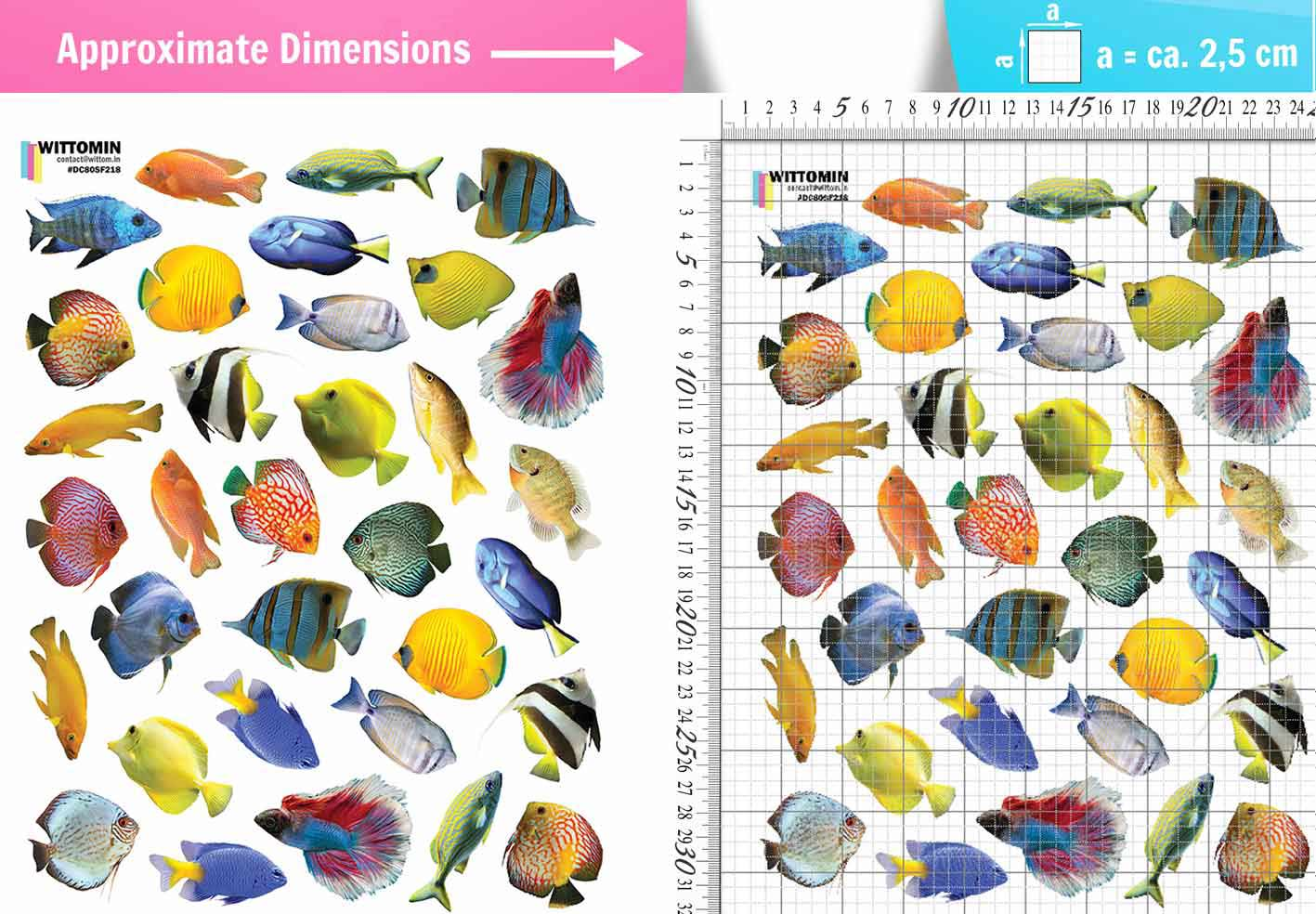 Small colourful fish sticker set from Wittomin