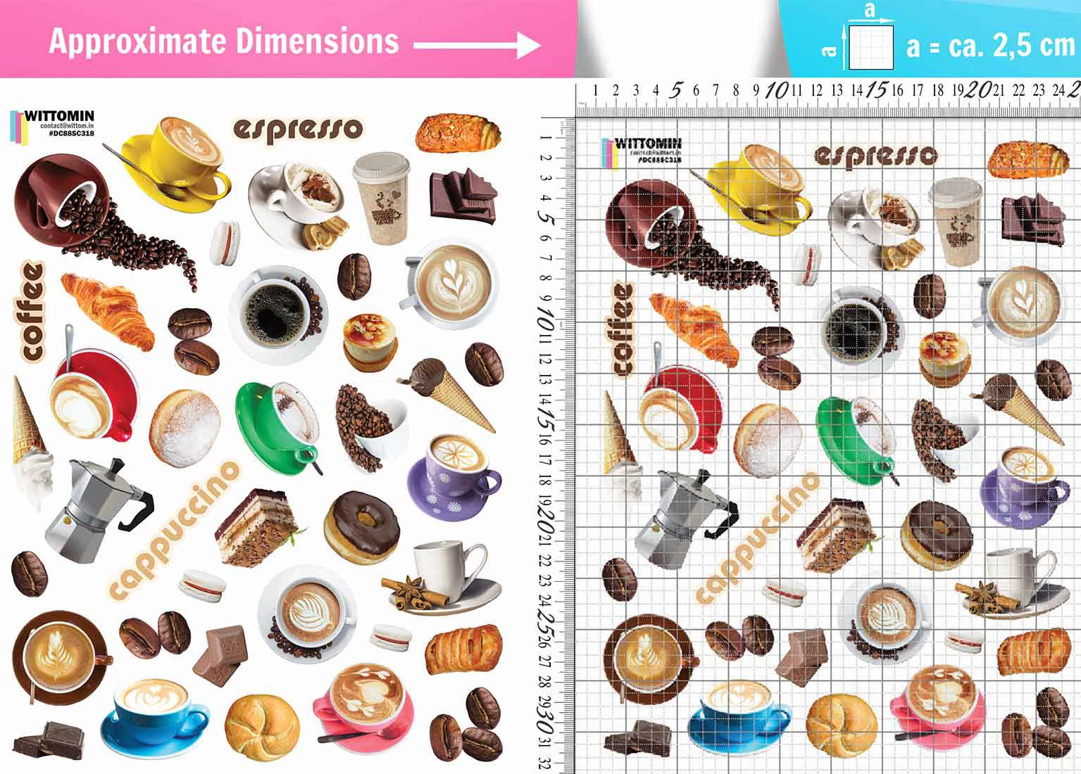 Small coffee and pastries sticker set from Wittomin