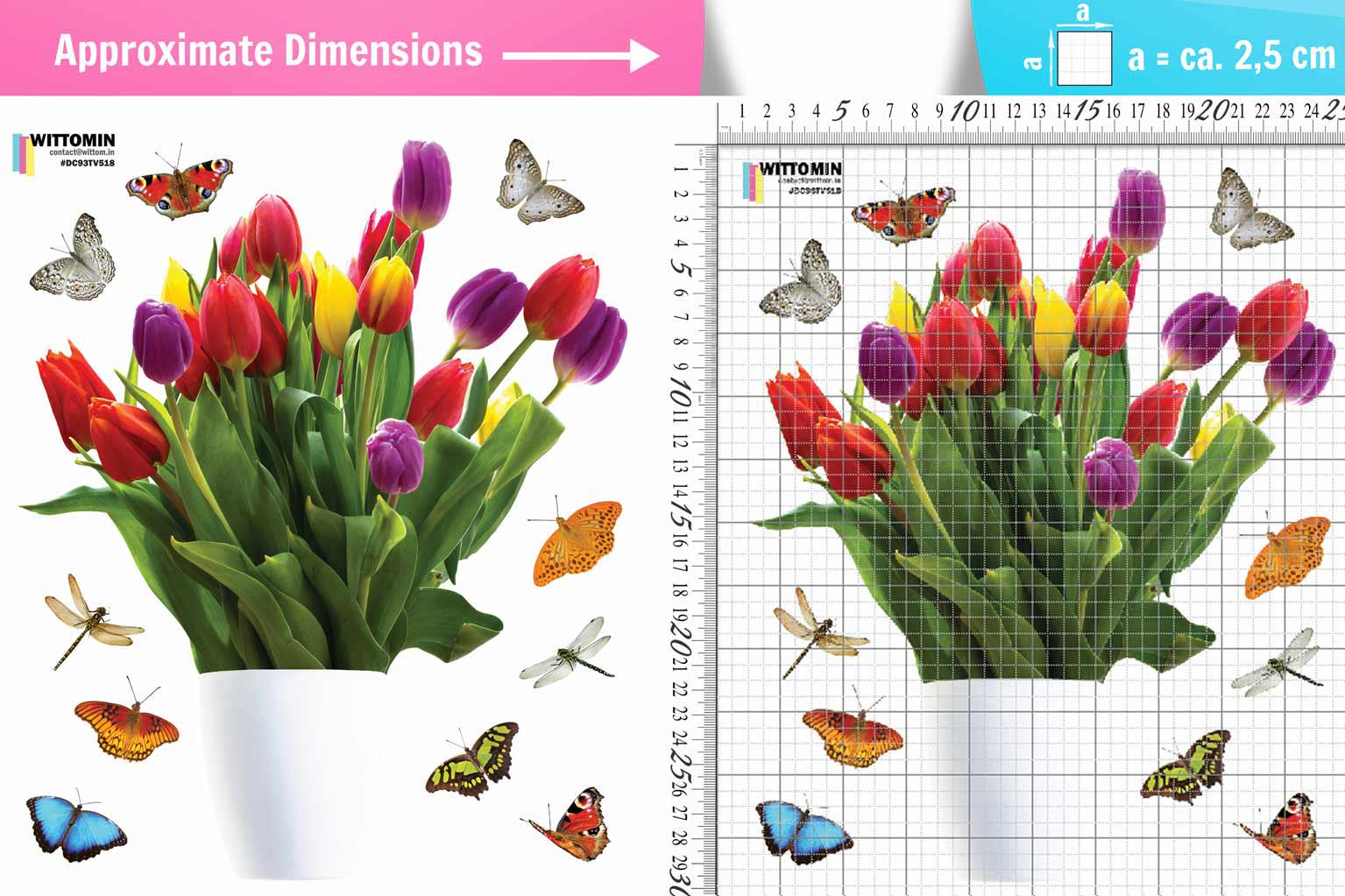 Vase with tulips and butterflies sticker set from Wittomin