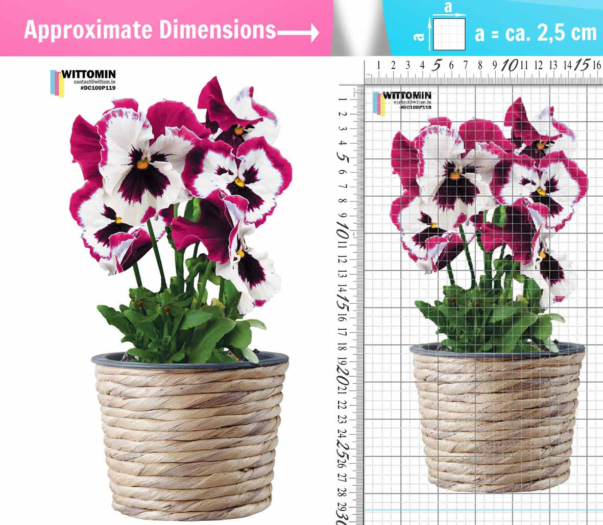 Heartsease flower pot pink sticker set from Wittomin