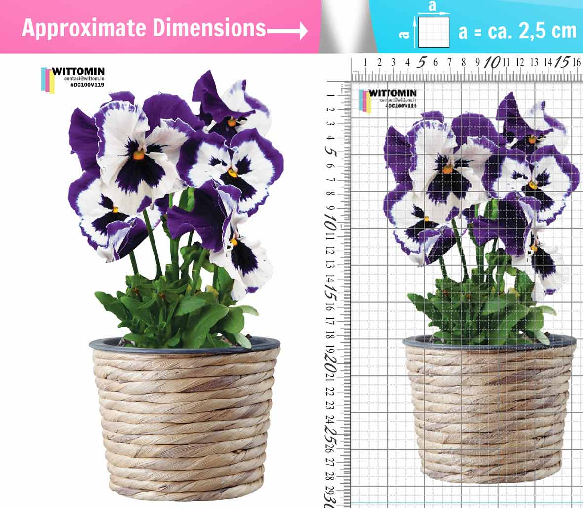 Heartsease flower pot violet sticker set from Wittomin