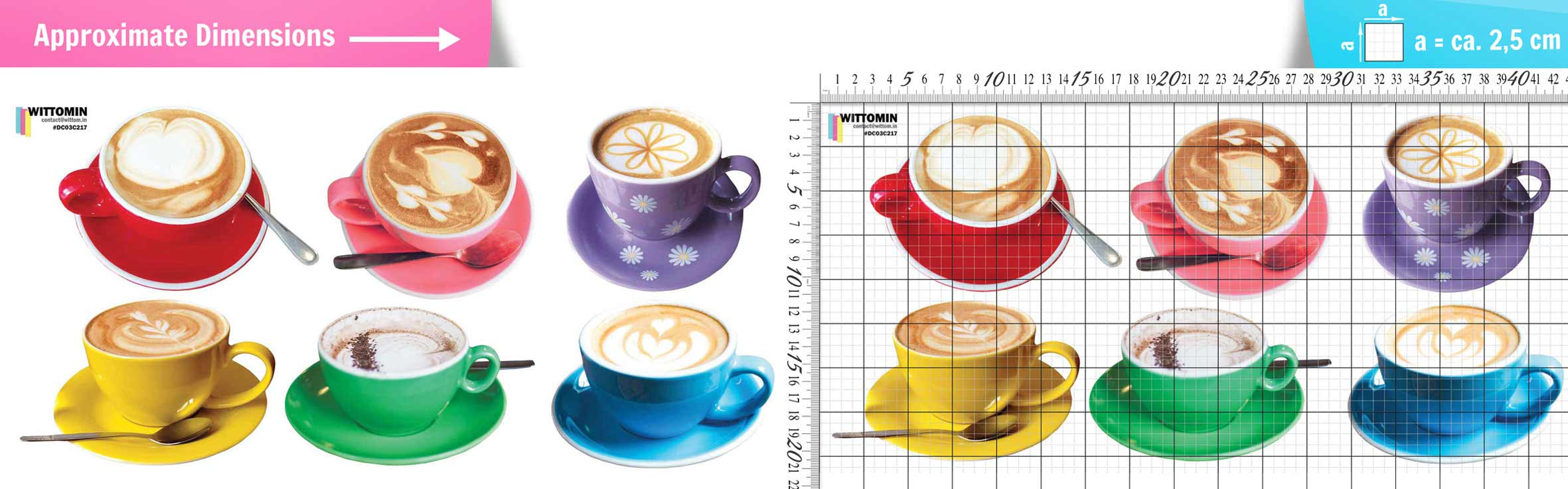 Cappuccino Coffee cups sticker set from Wittomin