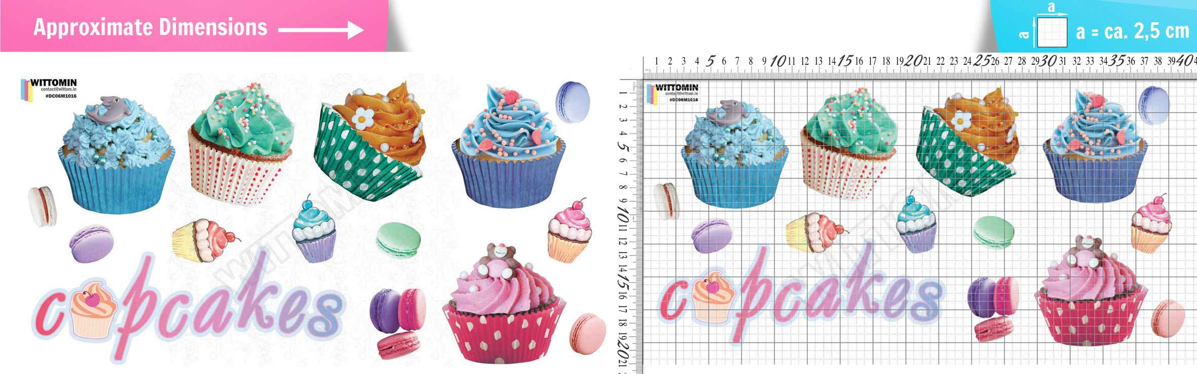 Cupcakes and Macaroons sticker set from Wittomin