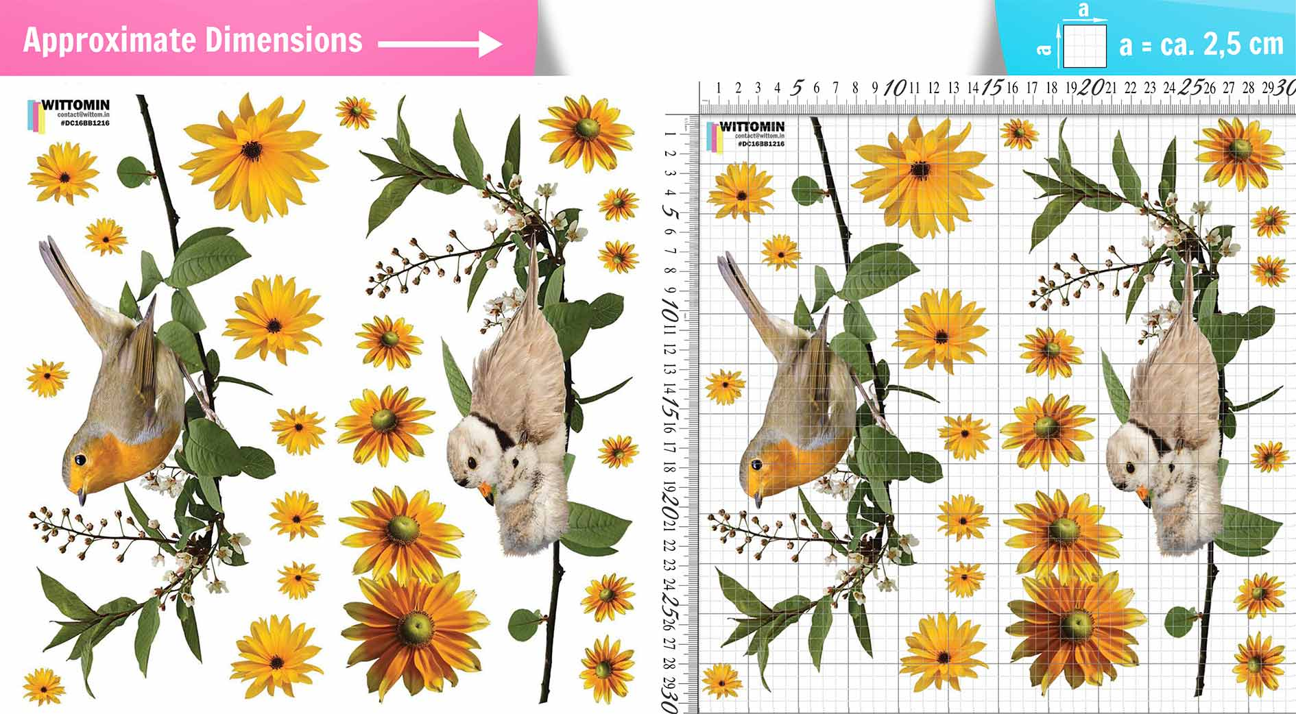 Flowers and birds window sticker set from Wittomin