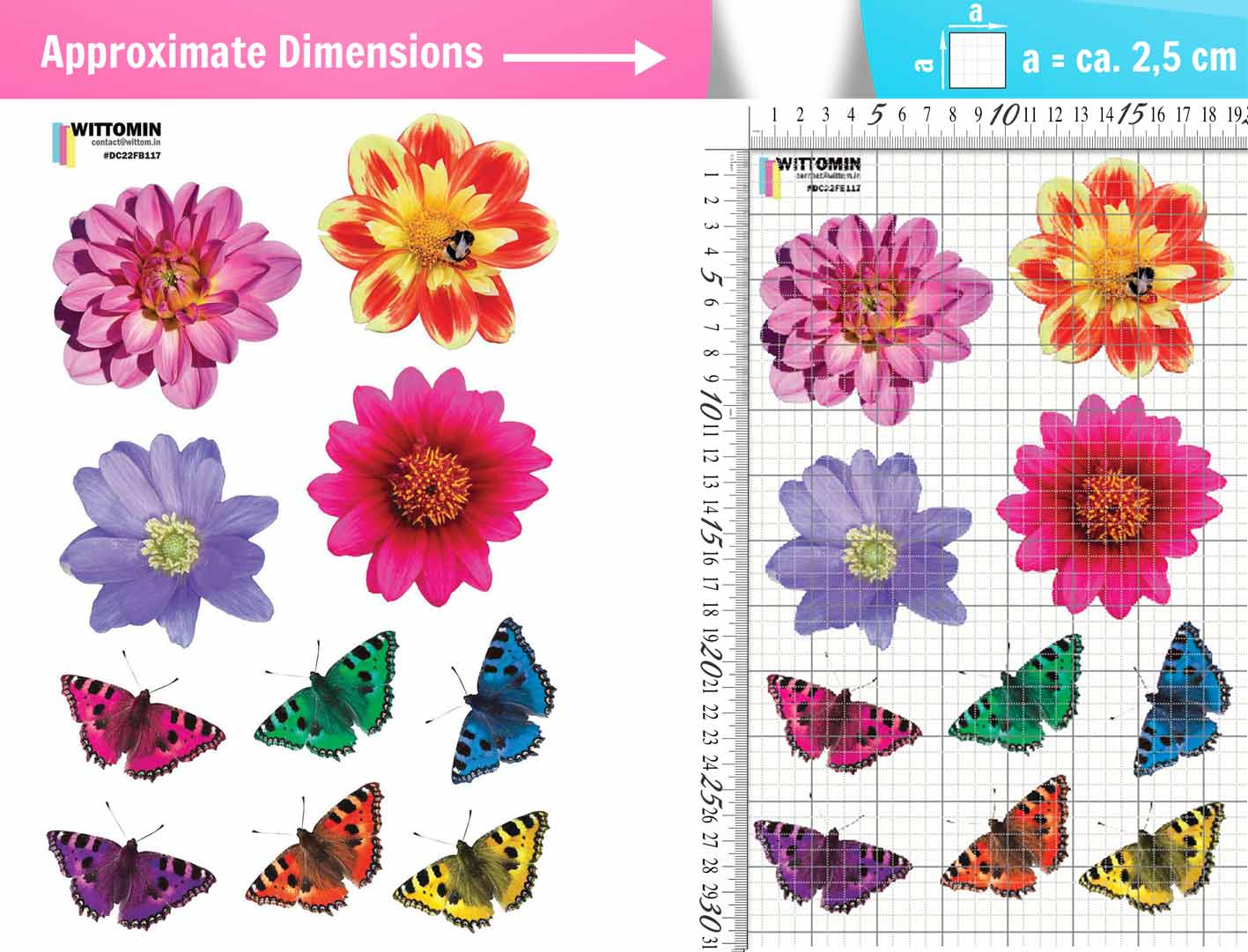 Flowers and butterflies sticker set from Wittomin